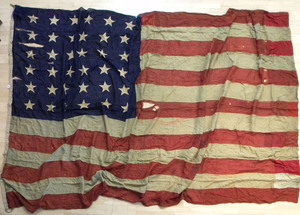 Thirty-six star American flag, 19th c., stamped D