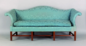 Chippendale style mahogany camelback sofa, with s