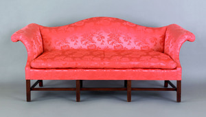 Chippendale style mahogany camelback sofa with st
