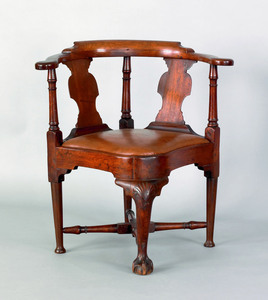 New England Chippendale walnut corner chair, ca.