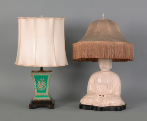 Chinese crackle glaze table lamp, 19th c., in the