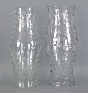 Assembled pair of cut glass hurricane globes, 19t