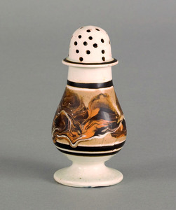 Mocha pepper pot, 19th c., with marbleized decora