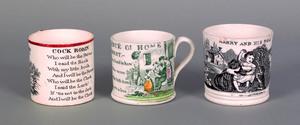 Three English transfer decorated child's mugs, 19