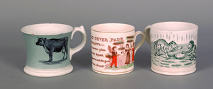 Three English transfer decorated mugs, 19th c., d