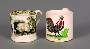 Two English pearlware child's mugs, 19th c., the