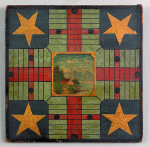 Painted parcheesi gameboard, 19th c., with centra