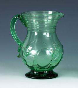 New York free blown green aqua glass pitcher, ca.