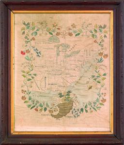 Rare American silk on silk needlework map of the