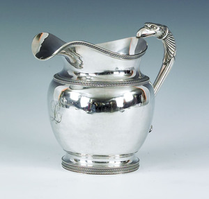 Philadelphia silver water pitcher, ca. 1820, bear