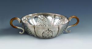New York silver two handled bowl, ca. 1725, beari