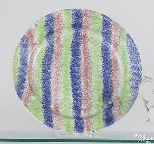 Red, blue and green rainbow spatter striped plate,
