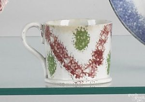 Red and green rainbow spatter miniature mug, 1 3/4