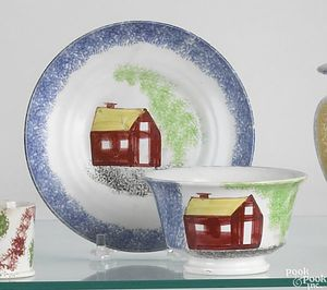 Blue spatter cup and saucer with red schoolhouse a