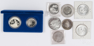 Five 1 oz fine silver coins
