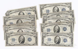 Large group of U.S. blue seal paper currency