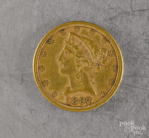 U.S. 1897 five dollar Liberty head gold coin
