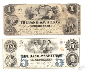 Two Bank of Washtenaw 1854 notes