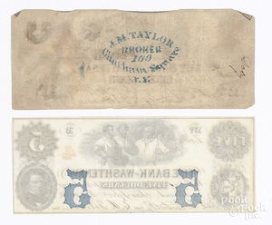 Two Bank of Washtenaw 1854 notes