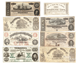 Eight Virginia Confederate notes