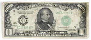U.S. series of 1934 $1000 Federal reserve note