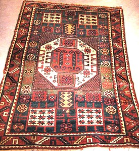 Karachopf Kazak rug, ca. 1900, with a central ivor