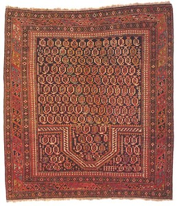 Shirvan prayer rug, ca. 1900, with boteh design on