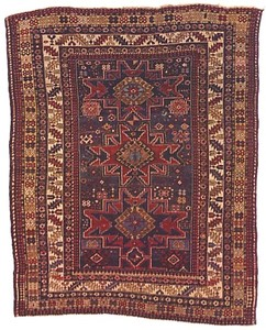 Gendje rug, ca. 1900, with 3 central medallions on