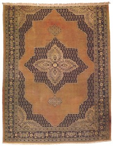 Tabriz room-size rug, ca. 1880, with a large centr