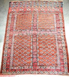 Turkoman rug, ca. 1910, with 4 brown panels and mu