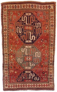 Kazak cloud band rug, ca. 1900, with 3 central med