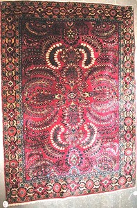 Semi antique Sarouk rug with a rust field and mult