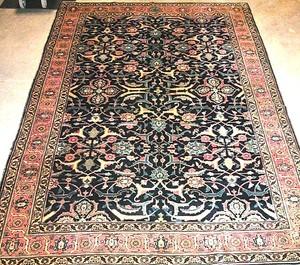 Semi antique room-size Tabriz rug with a blue fiel