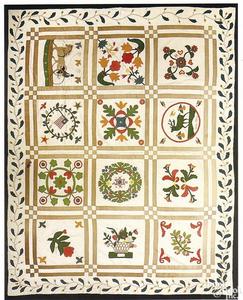Vibrant American pieced and appliqued cotton album