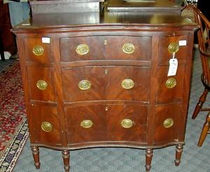 Unusual New England Sheraton mahogany chest, ca. 1