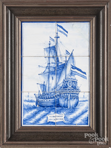 Framed Dutch tiles of the ship Provincien