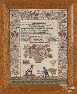 Wool and beadwork sampler