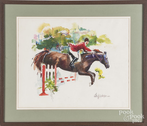 Cecile Johnson, watercolor steeplechase