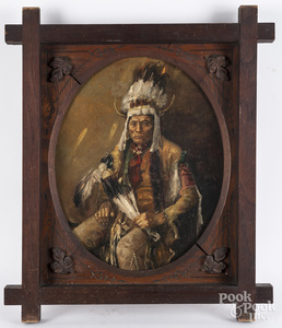 Oil on board portrait of a Native American