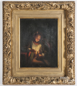 Oil on canvas of a woman reading by candlelight