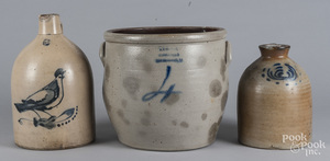 Three pieces of cobalt decorated stoneware