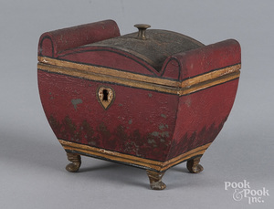 Red tole tea caddy