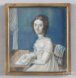 Watercolor on ivory miniature portrait