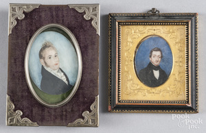 Two miniature watercolor on ivory portraits