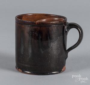 Redware shaving mug