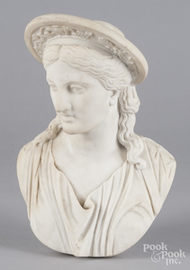 Pietro Clerici carved marble bust of a woman