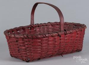Red painted split oak basket