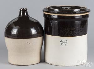 Stoneware lidded crock and jug