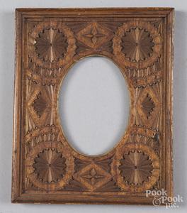 Chip carved pine frame