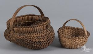 Two small split oak baskets